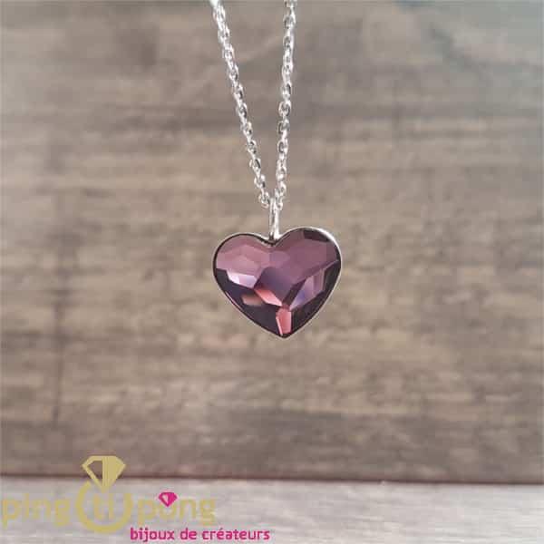 Bijou original : collier coeur violet en cristal de Swarovski de SPARK