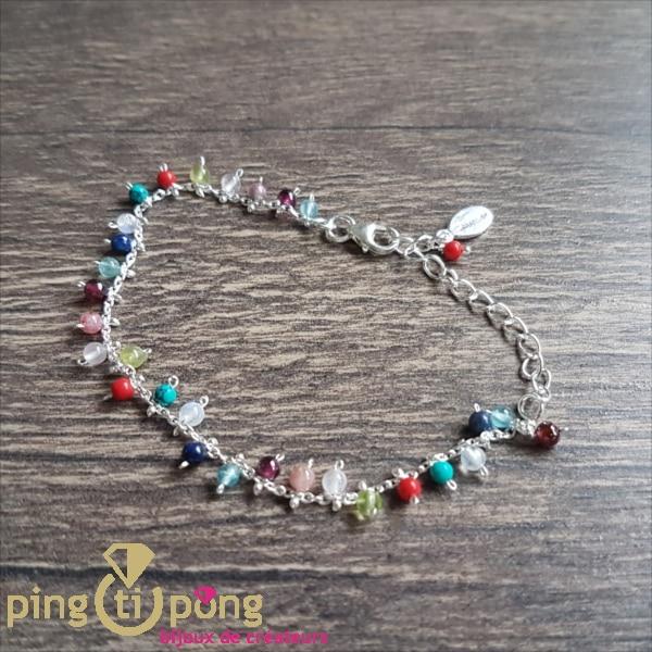 Bijou original : bracelet en argent rhodié et pierres naturelles de CANYON