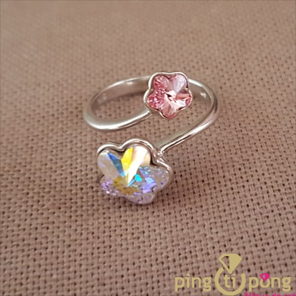BIjou en argent rhodié : Bague 2 fleurs de SPARK en cristaux de Swarovski