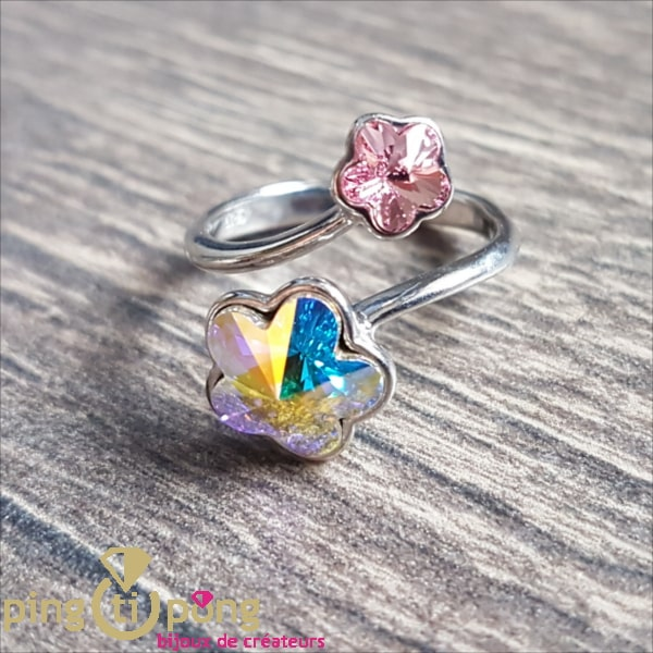 """Swarovski Jewelry : Ring """"toi et Moi"""" in silver and SPARK crystal"""