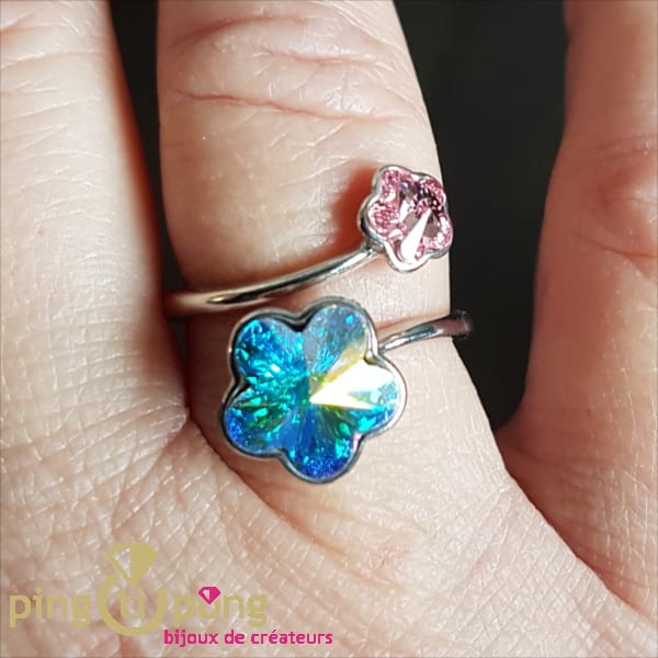 Original Jewel : Ring FLOWERS in silver and rhodium plated and Swarovski crystals from SPARK