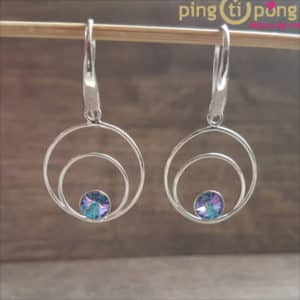 Rhodium-plated silver earrings with purple Swarovski crystals from SPARK