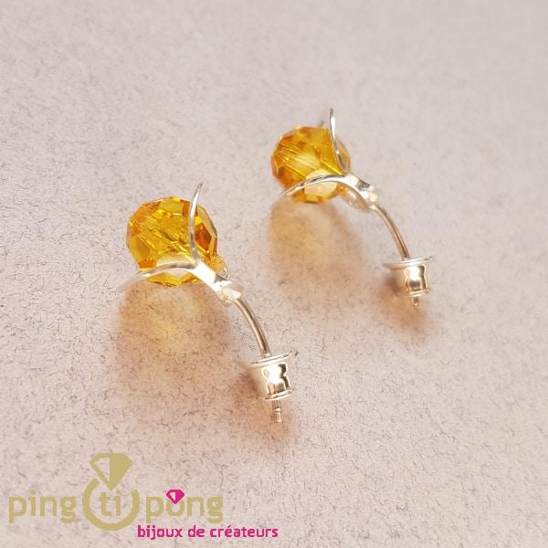 Bijoux originaux : Boucles fleurs jaunes en argent et cristal de OSTROWSKI