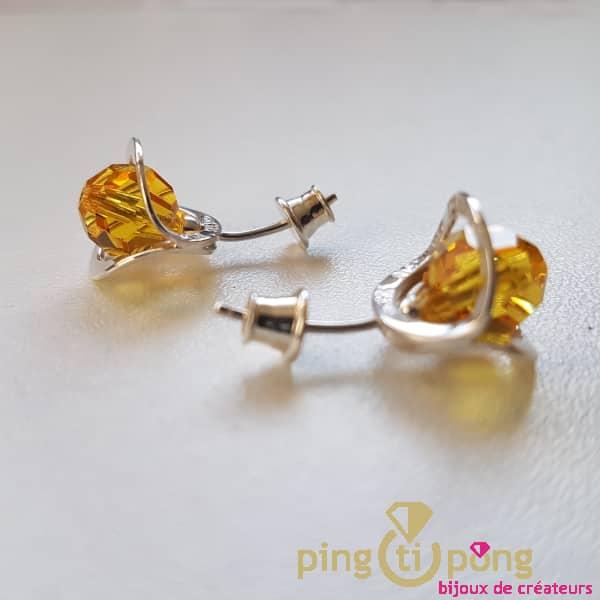 Bijoux de créateur : Boucles fleurs en argent et cristal de Ostrowski Design