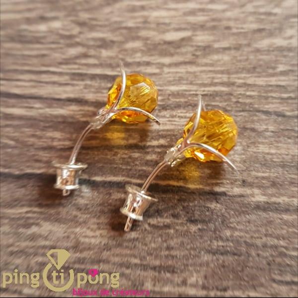 Bijoux en argent rhodié : Boucles Fleurs en cristal de Swarovski de OSTROWSKI Design