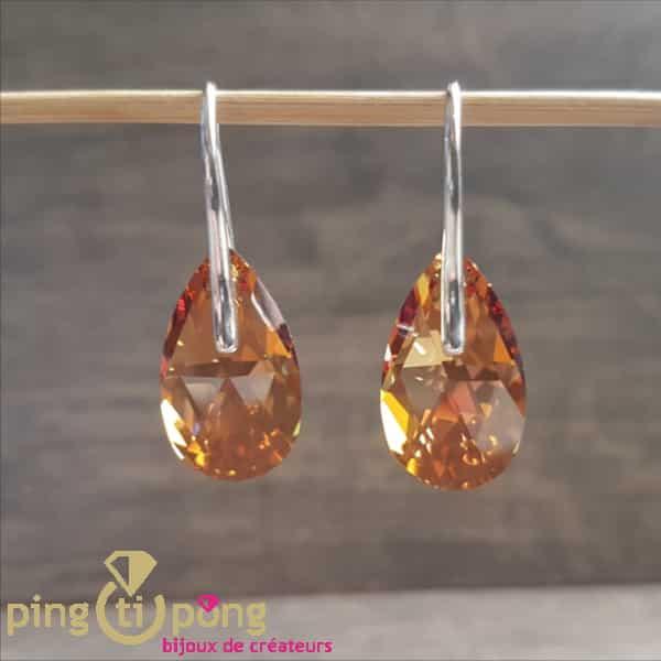 Bijoux originaux : boucles en argent rhodié et cristaux de Swarovski de SPARK