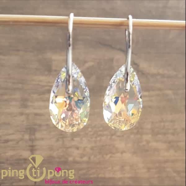 Bijoux en Swarovski : boucles larmes en argent et cristaux aurore boréale de SPARK