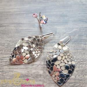 Bijoux originaux : ensemble boucles et bague en argent rhodié CANYON et SPARK
