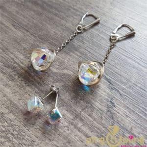 Composition de boucles d'oreilles en argent et cristal aurore boréale de SPARK et OSTROWSKI Design