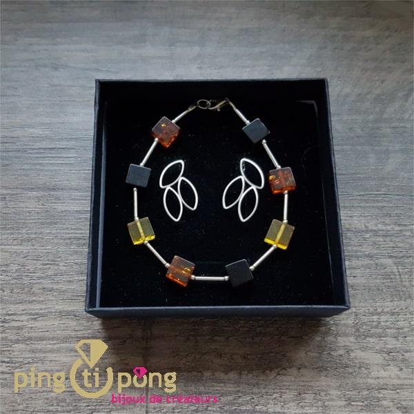Bracelet BALTICAMBRE en ambre et Boucles de KELIM Design en argent