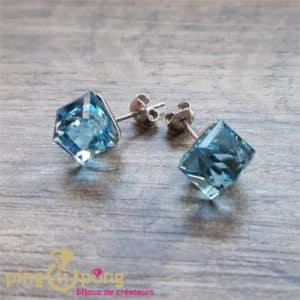 Bijoux originaux : Boucles cubes XL bleu en argent rhodié et cristaux de SPARK