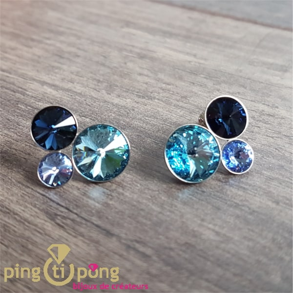 BIjoux originaux : Boucles argent 3 dômes en cristal bleu de SPARK