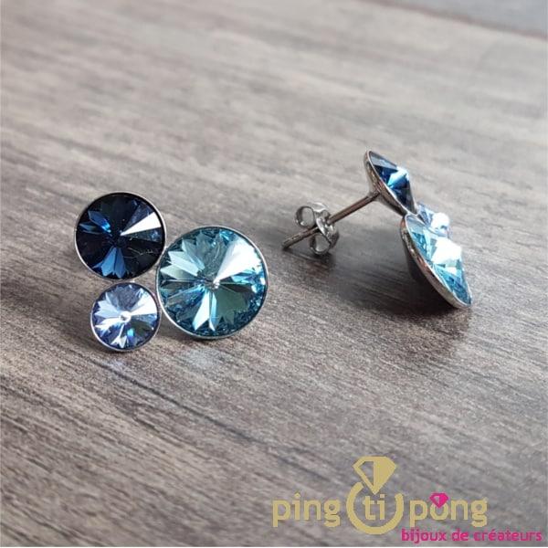 Bijoux en argent : Boucles 3 cristaux bleu de SPARK