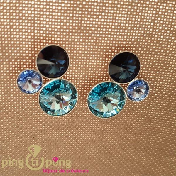 Bijoux artisanaux : Boucles 3 domes en argent et cristal de SPARK