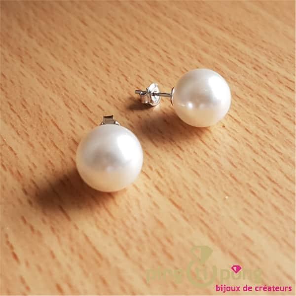 Bijoux artisanaux : Boucles perle nacrée SPARK