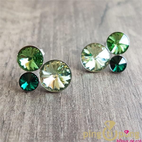 Bijoux originaux : Boucles d'oreilles 3 dômes en cristal de SPARK