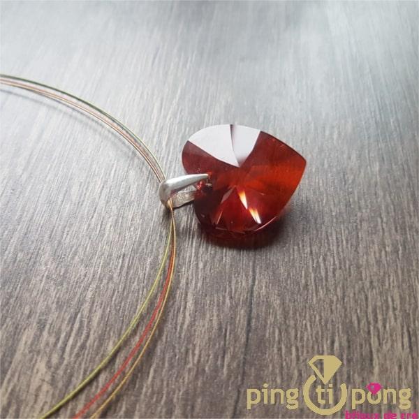 Bijou artisanal : Collier 3 brins et coeur XXL SPARK