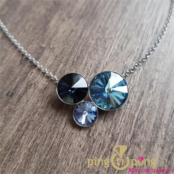 Bijou artisanal : Collier chaînette argent et dômes et cristal de SPARK