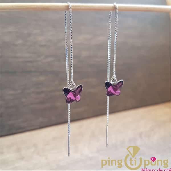 Bijoux artisanaux : Boucles en argent et cristal violet de SPARK